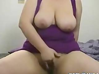 busty bbw chick lora riding sex toy on cam