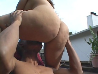 lusty brunette latina seduces black man by the