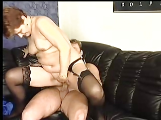 heavy cougar inside stockings copulates