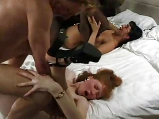 two milfs butt foursome on bunk