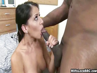 shaved woman rides his giant dark pole