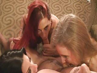 three mature babes sucking and swapping cum