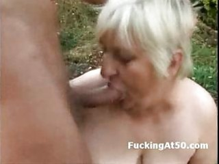 busty fat elderly cock sucking and gang-banged by