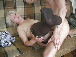 older albino inside stockings fucks the boy