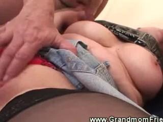 desperate granny obtains a second libido to lick