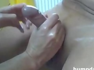 slut gives lovely handjob with happy ending