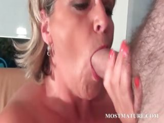 cougar so impressive mom adores to sucks penis