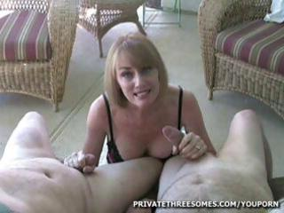 desperate blonde mature babe is giving two dudes