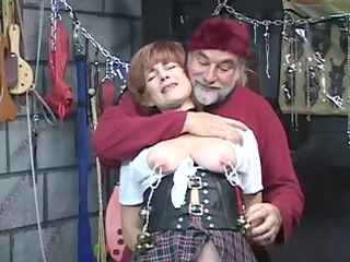 sexy, elderly red-haired takes her cum-hole toyed