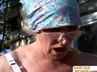 old gets reamed by amateur stud open-air