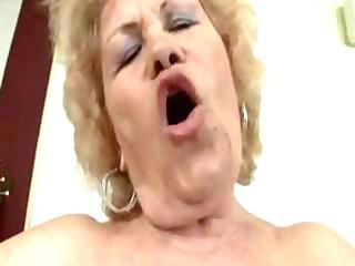 nasty, blond elderly acquires her fat, bushy