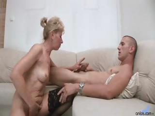 gorgeous blond old acquires a younger dude's