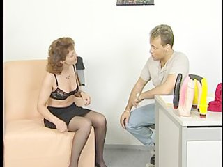brunette woman takes gangbanged during interview
