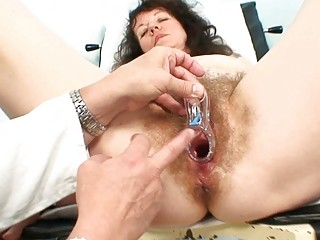 old older bitch takes her hairy examined at the