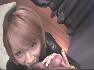 busty sumire matsu on her knees to lick dick