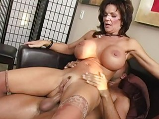 slutty brunette busty babe acquiring her pussy