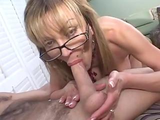 old breasty golden-haired sucks huge cock