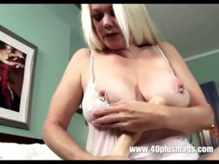 pale slutty grandma inside masturbating solo