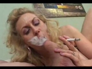 smoking mature licks a fat dick