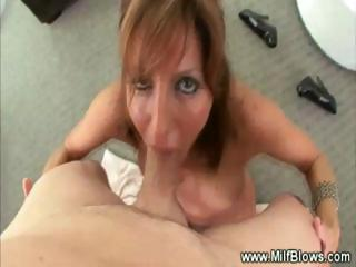 milf gives deep blowjob while masturbating