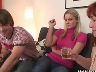 babe watching him banging her milf