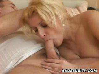 busty, plump fresh lady eats his cock, fucks and