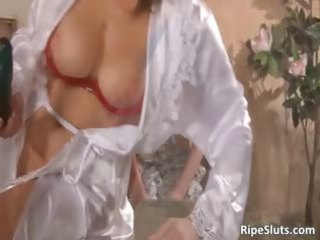 busty cougar slut and her amateur homosexual