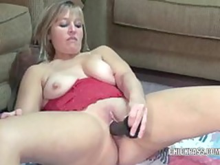 grown-up liisa copulates a big brown fuck device
