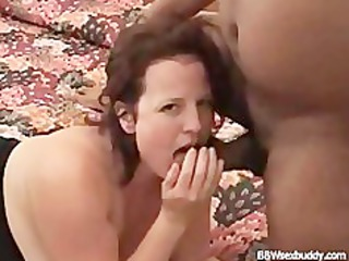 bbw chick likes 2 dicks while hubby is taping