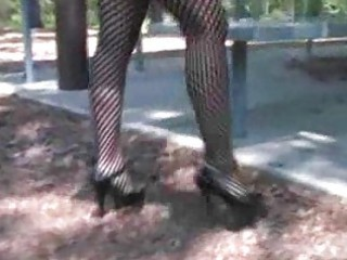 extremely impressive albino woman into fishnets