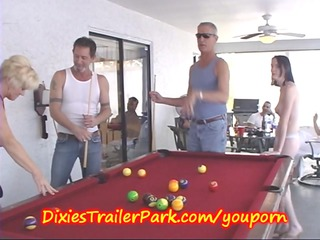 trailer trash swimmingpool shooting with woman