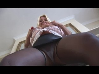 busty cougar lady inside mini cloth and pantyhose