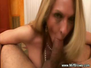 classy milf licks cock later cumshots on her