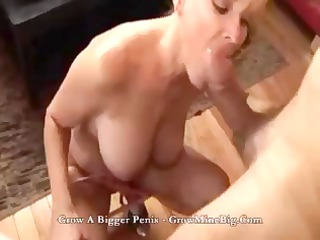 slutty blond angel goes down deep on his cock and