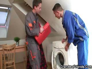 two repairmen gang bang desperate grandma from