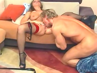 brunette tasting and obtaining gang-banged anally