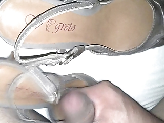cum on wifes sexy black sandal heel.