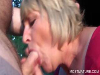 outdoor penis licking with albino grownup