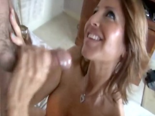 cougar slut is jerking a dick