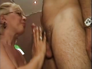 blond old into colorless fishnet stockings fucks
