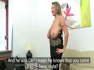 grownup girl fucking on leather couch