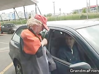 blonde granny has three outside