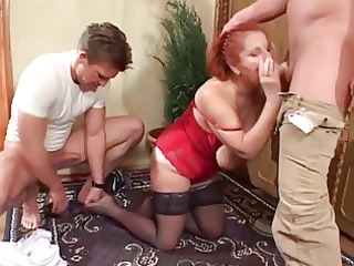 2 fresh studs dual team saggy tittied red-haired