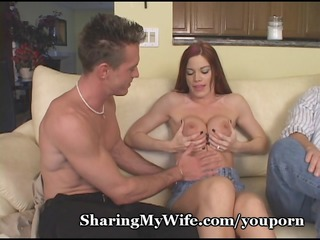 fiery red-haired wife with nice breast