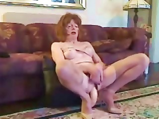 mature cd gets a giant sex toy into her butt