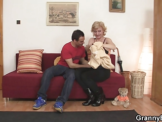 fresh guy picks up granny blonde and bangs her