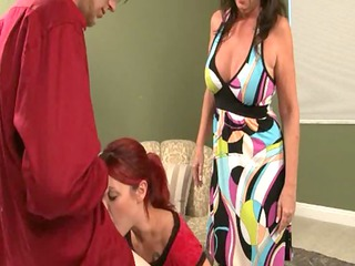 mother helps angel give penis licking
