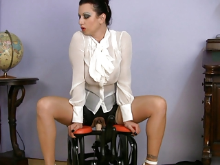 slutty clothed woman fuck coach riding sex machine