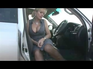 naughty in stockings inside the car