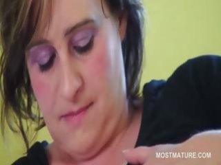 bbw mature naughty chick tasting her big tits
